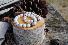 Couples Alabaster and Hematite bracelet set.