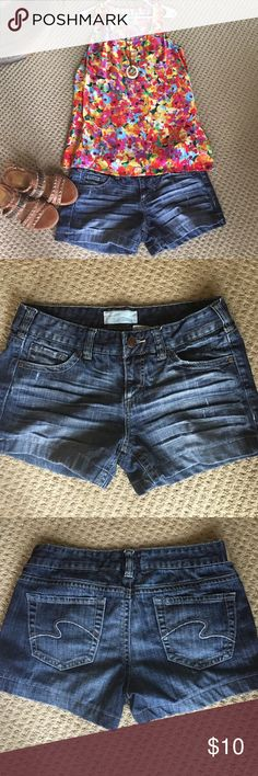 Maurice's size 7/8 denim shorts Perfect color denim shorts size 7/8. 99 cotton 1 spandex. Pairs well with this seasons CAbi luisa tank and Helios necklace which are not included in the listing. Maurices Shorts Jean Shorts