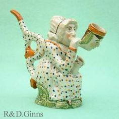 Prattware pottery pipe of the character Martha Gunn Clay Tobacco Pipe, Clay Pipes, Tobacco Pipes, Earthenware, Stoneware, Teapot Design, Welsh Dresser, Old Pottery, Ancient China