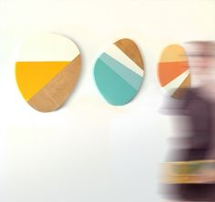 3 Deko-Sperrholzplatten mit Farbstreifen Wanddeko
