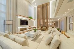 [New] The 10 Best Home Decor Today (with Pictures) High Ceiling Living Room Modern, Spacious Living Room, Home Living Room, Living Room Designs, Dream House Interior, Home Interior Design, 1950s House, H Design, Cottage Homes