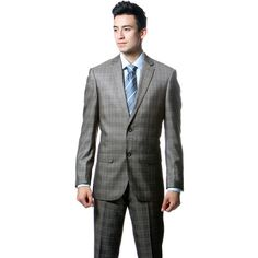 Zonettie by Ferrecci Men's Slim Fit Taupe Grey Plaid 2-piece Suit ($90) ❤ liked on Polyvore featuring men's fashion, men's clothing, men's suits, grey, mens suits, slim fit mens clothing, mens overalls, mens two piece suits and mens 3 button suits