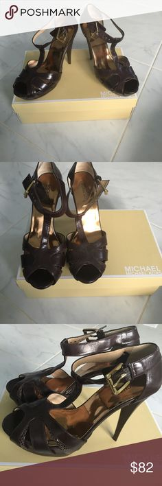 MICHAEL Michael Kors Brown Stilettos Coffee colored Michael Kors Platform Stilettos. Gorgeous gold embossed instep, ankle strap and with gold hardware! I'm teared up having to list these! After my pregnancy, my feet grew and they just don't fit!  Michael Kors Shoes Heels
