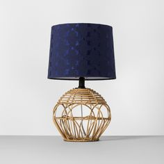 Cast a warm, pretty glow in any space with the Rattan Table Lamp with Navy Shade from Opalhouse. Includes: 1 table lamp with shade, 1 CFL bulb. Natural Table Lamps, Rattan Lamp, Farmhouse Lamps, Modern Farmhouse, Living Room End Tables, Living Rooms, Light Bulb Wattage, Table Lamp Shades, Navy