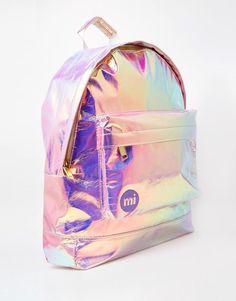 iridescent mother-of-pearl gleaming shimmering metallic rainbow shine opalescent Iridient Mi-Pac Backpack in Hologram Crossfit Kettlebell, Mini Mochila, Mode Kawaii, Cute Backpacks, Girls Bags, Cute Bags, Backpack Bags, Mini Backpack, Holographic