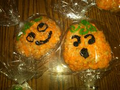 Rice Krispie Treats. Made this with my kids for a Haloween Party. Fun to make! Just use orange coloring food and add it to the melted Marshmallows. ;-)