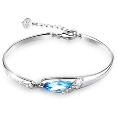 """T400 Jewelers """"Glass Slipper"""" Wrist Bangle Bracelet 6.7"""" Christmas Gift, Aqua Blue. Bangles size :6.7 inches and 1.97 inches extension approx. 