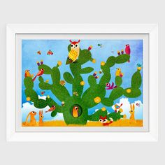 Cactus Wall Art Print Nursery Wall Art Desert by CherimoyaArt