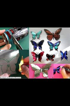 Reuse soda cans to make this beautiful butterflies :)
