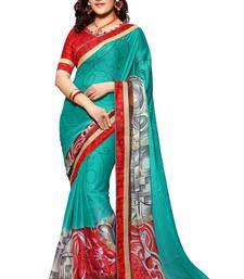 Buy multicolor printed chiffon saree with blouse chiffon-saree online