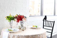Halloween inspired wedding #decor #halloween #fall #wedding #event #decor #sequin #linen #florals