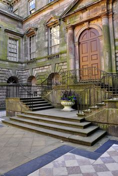Lyme Park courtyard - Cheshire, England..  The famous 'Darcy' steps after THAT lake scene from Pride and Predjudice..