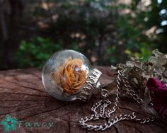 Botanical jewelry - real rose necklace - dried flower necklace - terrarium necklace - terrarium jewelry - glass orb necklace