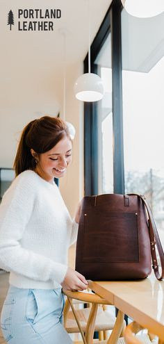 Portland Leather Goods - Tote bags, leather journals, passport covers, and other leather goods handmade in Portland, Oregon. Leather Hobo Handbags, Leather Purses, Women's Handbags, Crossbody Tote, Leather Crossbody, Fashion Bags, Women's Fashion, Fashion Ideas, Best Travel Bags
