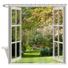 Spring Garden Through A Window Shower Curtain on CafePress.com