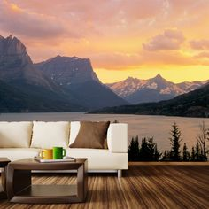 Paul Moore's St. Mary's Lake, Glacier National Park Mural wall decal