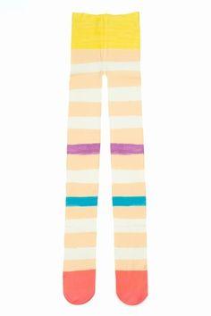 TSUMORI CHISATO COLORFUL STRIPE TIGHTS - BEIGE - AI123 - WOMEN - ACCESSORIES - OPENING CEREMONY - StyleSays