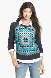 Halogen Crochet Front Sweater in Heather Charcoal  $40.80