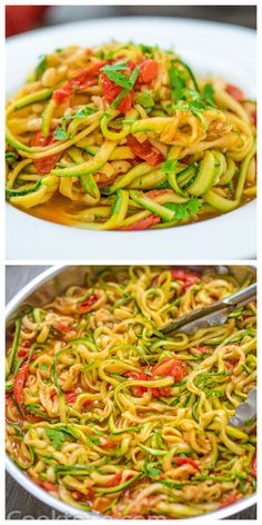 These tasty and easy Zucchini Noodles with garlic-tomato sauce make a perfect side or even main dish! You'll fall in love with this healthy treat. Follow Cooktoria for more deliciousness! #zucchini #noodles #zoodles #spiralizer #vegan #vegetarian #whole30 #lowcarb #keto #ketorecipe #dinner #sidedish #lunch #recipeoftheday