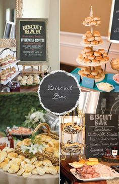 Wedding Food 8 food stations your guests are sure to love! Biscuit bar for a very southern wedding! - Surprising food stations that guests can enjoy as a main course, or a complimentary side. Food stations allow guests to tailor food to fit their needs. Wedding Brunch Reception, Wedding Catering, Buffets, Southern Wedding Food, Southern Bridal Showers, Southern Weddings, Biscuit Bar, Wedding Food Stations, Waffle Bar