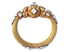 Nakshi gold kada studded with uncut diamonds, from Karni Jewellers.