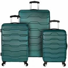 Designed to be lightweight and durable, this Omni Grey Hardside Spinner Luggage Set is made from a modern and durable ABS material. Each set features spinner wheels for easy gliding. The divided interior makes packing easy and quick. Luggage Store, Carry On Luggage, Travel Luggage, Luggage Bags, Travel Bags, Travel Uk, Prada Handbags, Handbags On Sale, 3 Piece Luggage Set