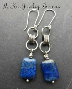 cool Blue lapis stone and Sterling Silver earrings. McKee Jewelry Designs, Andria McK...