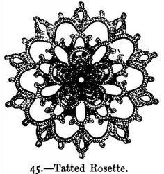 "BeetonsBookOfNeedlework.com: ""Beeton's Book of Needlework"" - includes tatting patterns, such as this Tatted Rosette #tatting #lace"