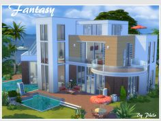Built in a modern style with warm features such as red bricks and wood, this house is the fantasy of my posh sims. It has 5 bedrooms, 4 bathrooms, a sauna, 2 wellness area, a movie room, a yoga...