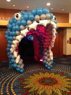 This would blow the little man's mind. Balloon shark entrance with clever white foil star teeth.