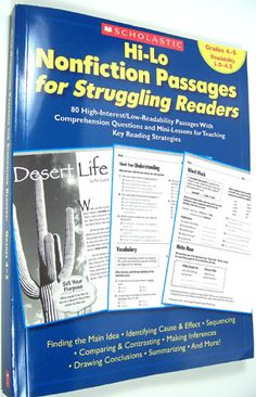Amazon.com: Hi-Lo Nonfiction Passages for Struggling Readers: Grades 4–5: 80 High-Interest/Low-Readability Passages With Comprehension Questions and Mini-Lessons for Teaching Key Reading Strategies (9780439694971): Scholastic Teaching Resources, Maria Chang: Books