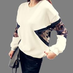 Fashion Women Hoodies Sweatshirt O Neck Lace Flower Patchwork Batwing Long Sleeve Pullovers Jumper Tops sudaderas mujer Blusas Hijab Fashion, Diy Fashion, Ideias Fashion, Winter Fashion, Fashion Dresses, Womens Fashion, Fashion Design, Style Fashion, Xl Mode
