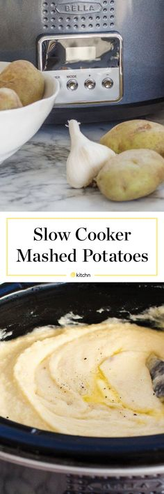 Slow Cooker Mashed Potatoes | Kitchn - Cover and cook until they're very tender, then mash them right in the pot and stir in milk and butter. Put the lid back on and turn the slow cooker to warm, and your potatoes are ready whenever you are.