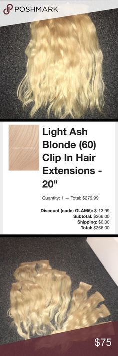 Glam Seamless 7pc Clip in Hair Extentions Glam Seamless Brand Light ash blonde  180grams  They have been washed and layered/trimmed Beautiful,thick extensions  Clips and grips are blonde to help with blending  They are currently waved from air drying  Not even a year old!  Almost $300 brand new!  Camera flash may have altered the color a little,these are a very light bleached blonde.   Includes: 1- 5clip weft 1-4clip weft 1-3clip weft 4-2clip wefts Glam Seamless Accessories Hair Accessories