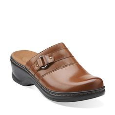 Lexi Lilac in Brown Leather - Womens Clogs from Clarks