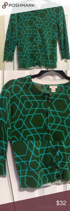 """Woman's JCrew Cardigan Perfect """" Pop """" If Color With This Green And Turquoise Cardigan , Pit To Pit 16"""" , Shoulder To Hem 22"""" JCrew Sweaters Cardigans"""