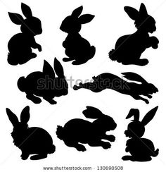Variety Silhouettes Rabbit Stock Vector 130690508 : Shutterstock and link to more silhouettes for stencils