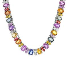 So colorful, so gorgeous... diamonds and sapphires in white gold.