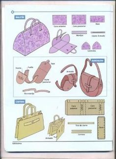simple sewing patterns for bags. this page has a whole slew of these visual pattern designs. by Nina Maltese Sewing Hacks, Sewing Tutorials, Sewing Projects, Easy Sewing Patterns, Purse Patterns, Leather Craft, Leather Bag, Diy Purse, Fabric Bags