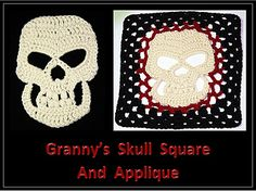 Granny's Skull Crochet Pattern includes instructions for the large Jolly Roger style skull applique AND turning it into a lovely granny square for making blankets or afghans.