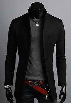 Mens Premium Slim Fit China Collar Long Blazer Jacket Jumper Coat Top - XS/S/M/L
