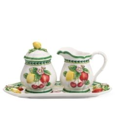 Villeroy & Boch Serveware, French Garden Figural Sugar and Creamer with Tray Tostadas, Garden Baby Showers, Cute Teapot, Kitchen Decor Themes, French Countryside, Cream And Sugar, Summer Fruit, Serveware, White Porcelain