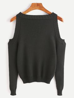 Black Open Shoulder Long Sleeve Sweater