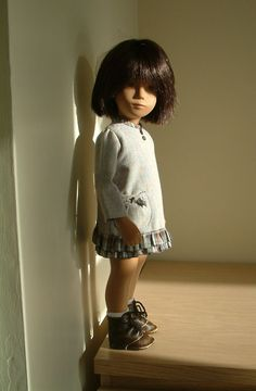 Dress with a tartan trim for 17 inch Sasha doll by Egdon Books - Frances Trickett Sasha Doll, Baby Accessories, Clothing Accessories, Smock Dress, Reborn Babies, Doll Patterns, Doll Toys, Paper Dolls, Tartan