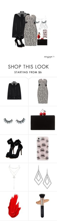 """strapless dress"" by daizyjayne ❤ liked on Polyvore featuring sass & bide, Halston Heritage, Unicorn Lashes, Edie Parker, Rebecca Minkoff, Charlotte Russe, ABS by Allen Schwartz, Maybelline, contestentry and WearIt"