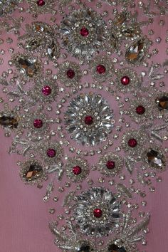 Beautiful Kundan and Zardozi Beadwork, Beading, Zardozi Embroidery, Cutwork, Embellishments, Christmas Wreaths, Holiday Decor, Beautiful, Embroidery Stitches