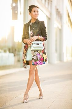Spring Love :: Floral jacket & Mint mini bag : Wendy's Lookbook. Red Valentino, mint shorts Asos, and shoes. Fashion blogger