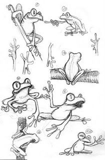 Frog Sketches by Dave Jones. Animal Sketches, Animal Drawings, Drawing Sketches, Cartoon Drawings, Easy Drawings, Frog Sketch, Comics Und Cartoons, Frog Illustration, Frog Drawing