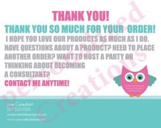 Personalized Thank You Cards made for Thirty-One Gifts, Scentsy, Origami Owl and more