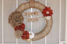 Fall wreath Shabby Chic  burlap fall decor  Fall flowers
